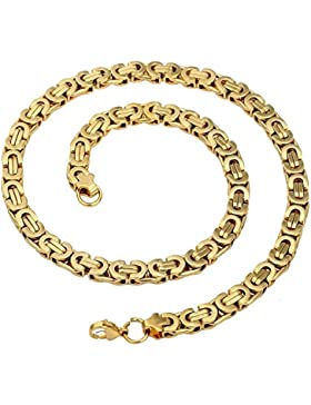 Trendsmax Herren Kette Edelstahl Halskette Königskette, 8mm Breite Goldton Byzantinische herrenkette