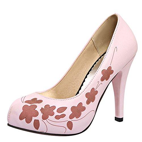 MissSaSa Donna Scarpe col Tacco a Cono Alto Classico Rosa