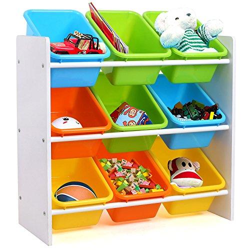 HOMFA Kinder Aufbewahrungsregal Kinderregal Spielzeugregal Spielzeugkiste Kommode mit 9 Kunststoffkästen für Spielzeug und Bücher Multi Toy Organizer 65*26.5*60cm (Bücherregal Maße)