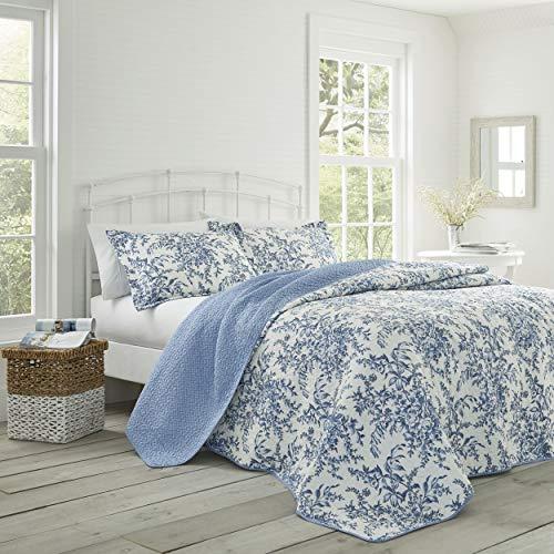 4ce05d8cb9 Laura Ashley Bedford Cotton Reversible Quilt Set, Cotone, Blue, Coppia