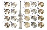 Ornex 80215052/3 Minisortiment 3 cm, 20 Kugeln und Spitze, 21 Stück, weiß/Beige