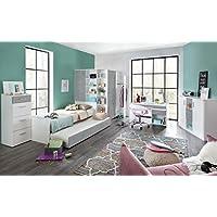 Jugendzimmer, Jugendmöbel, Teenagerzimmer, Kinderzimmer, Junge, Mädchen, komplett-Set, weiß, Betonoptik 5-tlg. preisvergleich bei kinderzimmerdekopreise.eu