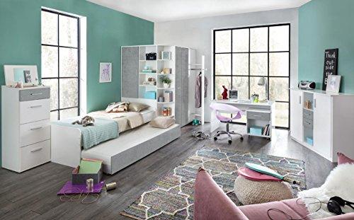 Jugendzimmer, Jugendmöbel, Teenagerzimmer, Kinderzimmer, Junge, Mädchen, komplett-Set, weiß, Betonoptik 5-tlg. (Jugend-jungen Schuhe)