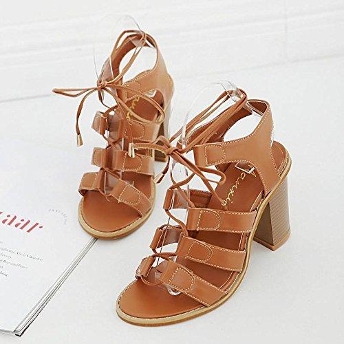 LvYuan-mxx Sandales femme / Printemps Été / Chaussures rétro Rome / Croix cravate / talon chunky / ouvert orteil / Confort Casual / Bureau & Carrière Robe / Talons hauts BROWN-37