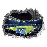 Hamburger SV Wandtattoo 3D für Tapete | Sport Fanartikel mit Volksparkstadion Motiv 3D | Stadion Motivfolie problemlos anzubringen | Fussball Wandbild zum Aufkleben [70 x 100 cm]