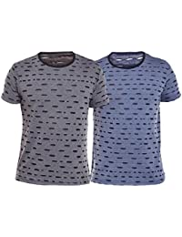 Vimal Navy Blue And And Black Ripped Look Printed Tshirts For Men(Pack Of 2)