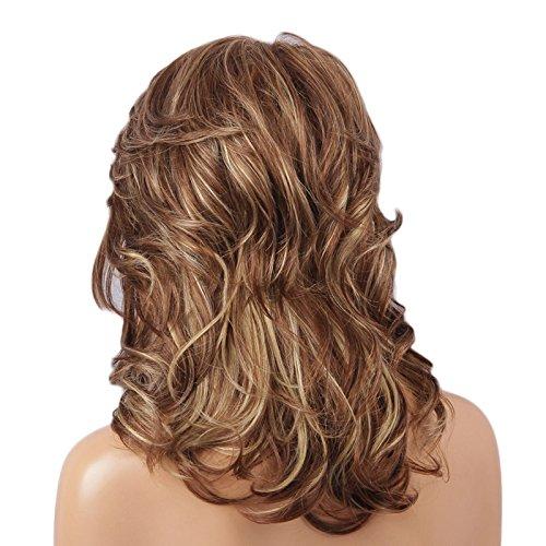 Sharplace Damenperücken aus menschliche Haare Blonde Lange Lockige Perücke Echthaar Frauen Volle Perücke Cosplay Wig (Menschliche Haare Perücken)