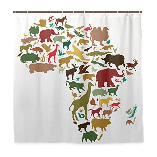 Wamika Badezimmer Dusche Vorhang Tiere von Afrika Design Haltbarer Stoff Bad Vorhänge Schimmelresistent Wasserdicht Badezimmer mit 12Haken 183,0cm x183,0cm (Stoff Dusche Vorhang Tiere)