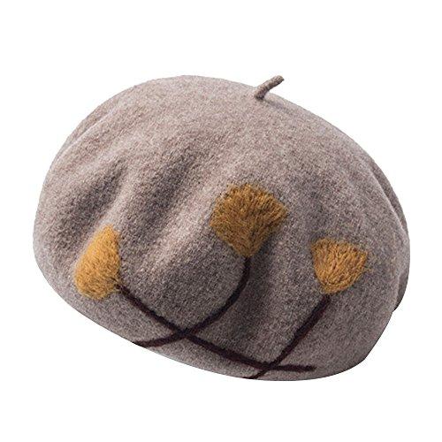 Kangqifen Damen Baskenmütze Wollmütze Warm Barett Mütze Verschiedene Farben(Khaki)