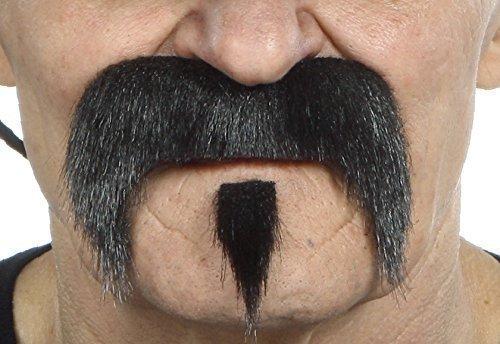 Mustaches Selbstklebende Fälscher Schnurrbart Neuheit The Zappa Falsch Gesichtsbehaarung Kostümzubehör für Erwachsene Schwarz Glänzend ()