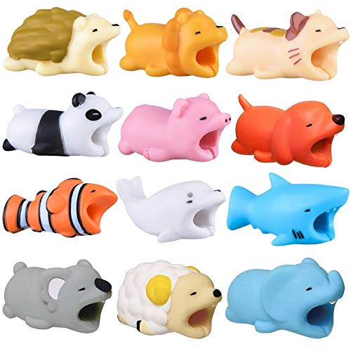 Cable Bite Qoosea iPhone Cable Protector Shaver Cute Creative Animal Accesorio de teléfono Protege Accesorio de Cable Compatible Compatible con iPhone 6 6S 7 8 X XS XR XS MAX (12pcs)