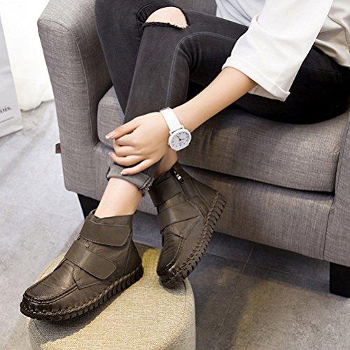 Vogstyle Damen Vintage Handgefertigte Lederstiefel Flach Stiefel Art 1 Khaki