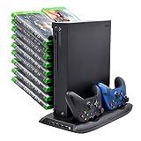 Xbox One X support vertical ventilateur de refroidissement avec disques de jeu Tour de rangement Mounts et DualShock contrôleur de chargeur, station de recharge pour Xbox One X...