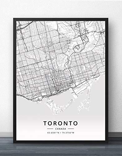 ZWXDMY Leinwand Bild,Kanada Toronto Stadtplan Schwarz Weiß Minimalistische Text Zeile Abstrakt Leinwand Malerei Poster Rahmenlose Wandbild Teehaus Dekoration, 40 × 50 cm