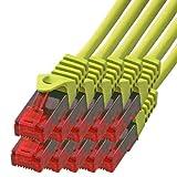 BIGtec - 10 Stück - 2m Gigabit Netzwerkkabel Patchkabel Ethernet LAN DSL Patch Kabel gelb ( 2x RJ-45 Anschluß , CAT.5e , kompatibel zu CAT.6 CAT.6a CAT.7 ) 2 Meter