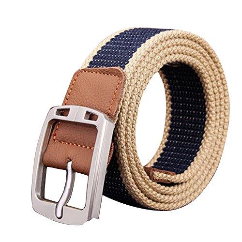 ZHOUBA - Cinturón - para hombre Navy Blue Stripe Talla única