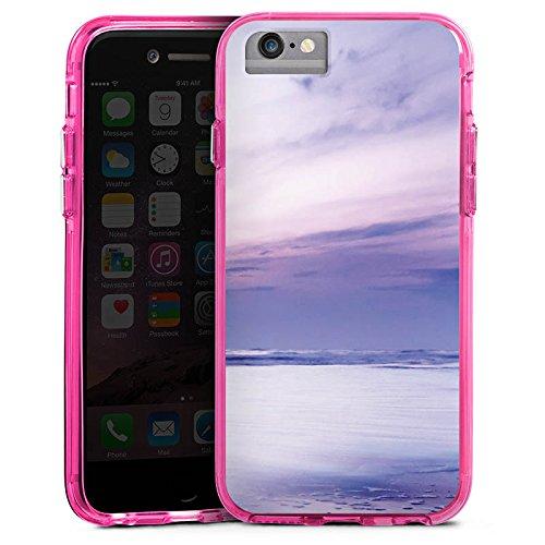 Apple iPhone 7 Bumper Hülle Bumper Case Glitzer Hülle Lila Wolken Ozean Bumper Case transparent pink