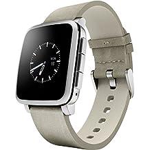 Pebble Time Steel - Smartwatch (128 MB RAM, Li-ion, Android, 4.0, Bluetooth 4.0), color plateado
