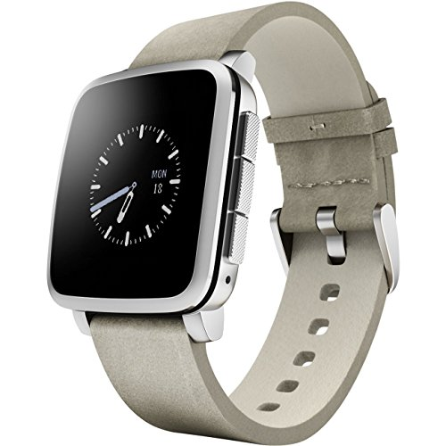 Pebble Time Steel Smart Watch, silber