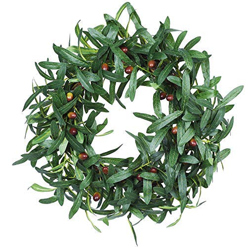 WooooW Ltd Kranz mit Olivenblatt-Motiv, künstlicher Olivenkranz, natürliche Weinrebe, für Eingangstür, Innen- und Außenwand, 40,6 cm