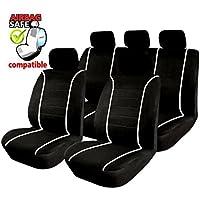 Akhan SB304 Coprisedili per automobili con airbag laterale, colore: nero/bianco