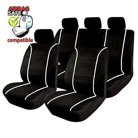 Akhan SB304– Housses de siège auto de qualité supérieure Avec airbag latéral Noir/Blanc