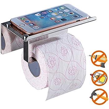 Support de Papier Hygiénique, SUS304 Porte-Papier Toilette en Acier Inoxydable Avec étagère de Rangement Pour Téléphone Portable, 3M Auto-Adhésif, Aucun Forage Requis