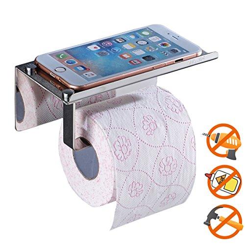 Toilettenpapierhalter ohne Bohren, SUS304 Edelstahl Badezimmer Klopapier Halterung mit Handy-Speicher-Regal, Selbstklebender 3M-Kleber - Aluminium-sicherheits-geldbörse