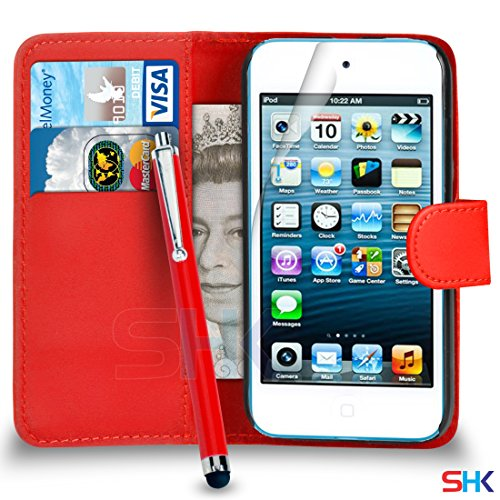 Apple iPod Touch 5 Red PU-Leder-Mappen-Schlag-Fall-Abdeckungs-Beutel + Big Stylus Pen + Screen Protector & Poliertuch VON SHUKAN (Screen Big Ipod Touch)