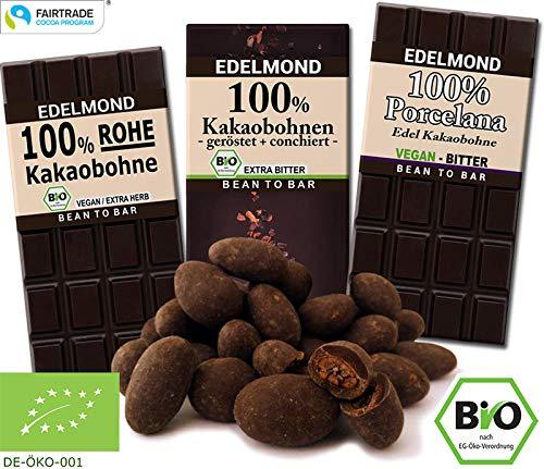 Edelmond Bio 100% Kakao Schokoladen-Paket. Nur Edel-Kakaobohnen. Handgemacht, vegan & fair-trade. Extra Extra herb! - Plantagen Dunkle Schokolade