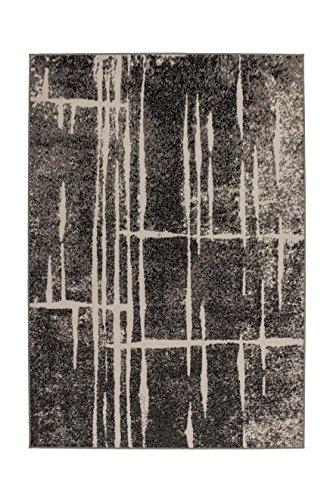 Teppich Wohnzimmer Carpet Modern Design Rohullah 3010 Rug Streifen Muster Polypropylen 120x170 cm Grau/Teppiche günstig online kaufen