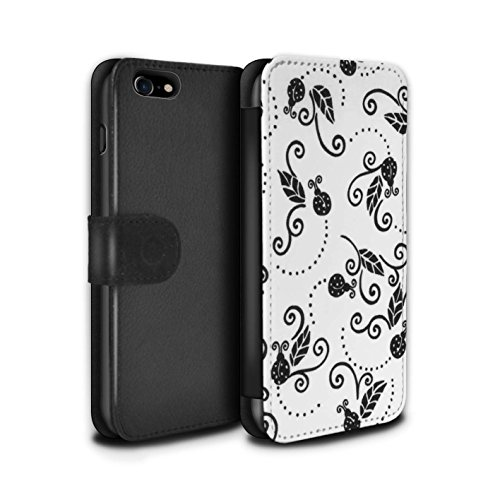 Stuff4 Coque/Etui/Housse Cuir PU Case/Cover pour Apple iPhone 8 / Gris Design / Motif Coccinelle Collection Noir / Blanc