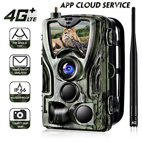 "App 4G Wildkamera 20MP 1080P Trail camere MMS Wildkamera 4G 3G GSM Jagdkamera, 0,3s Auslösezeit, Infrarote 30m 940nm IR LED IP65 Wasserdicht 2.4\"" Bildschirm HC-801LTE APP"