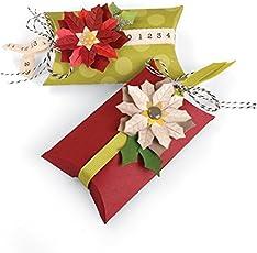 Sizzix 660660 Thinlits Die Set, Box, Pillow & Poinsettias by Jen Long, 7/Pack