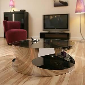 Moderner designer gro rund couchtisch glas top edelstahl for Designer couchtisch amazon
