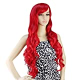 Bright Red: AGPtek 32 inch Heat Resistant Curly Wavy Long Cosplay Wigs