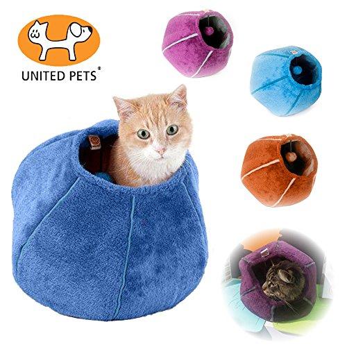United pets, lettino per gatto, a forma di tana, 35x 35cm, color arancione/beige