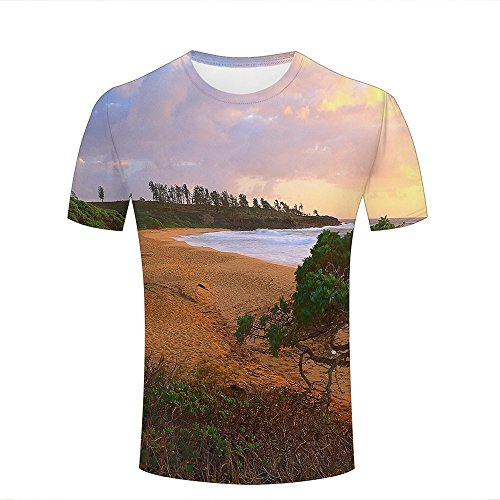 Men T-Shirt 3D Digital Pinted Donkey Beach Sea Waves Crewneck Casual Tee Shirt Tops XL (Light Donkey T-shirt)
