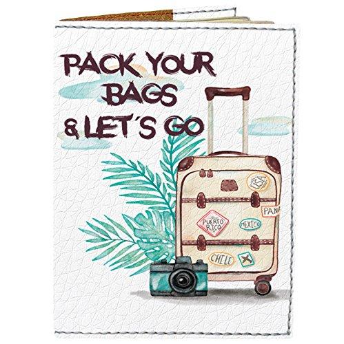 Fastoni, Unisex, Erwachsene (nur Gepäck) Ausweistasche, Leder, Pack Your Bags and Lets Go, Einheitsgröße