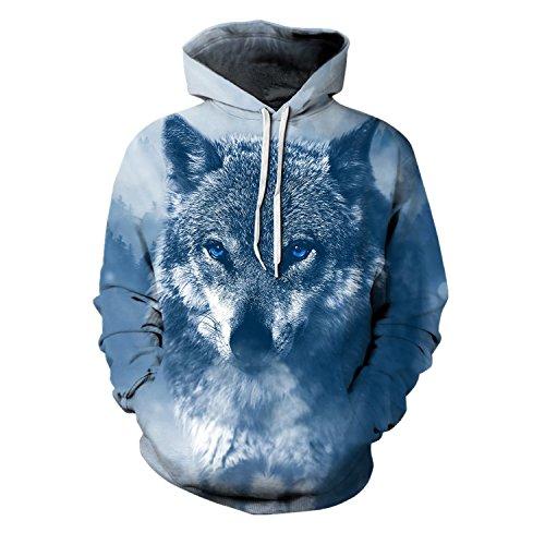 Comeon Herren 3D Druck Kapuzenpullover Cartoon Sweatshirt Weihnachten Langarm Top Shirt Herbst Spaß Hoodie (XXL/XXXL, Wolf)