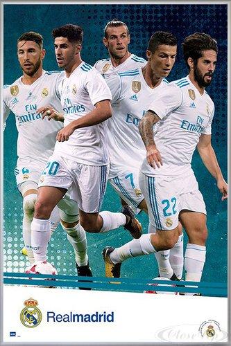 Close Up Real Madrid Poster Mannschaft Saison 2017/18 (93x62 cm) gerahmt in: Rahmen Silber matt