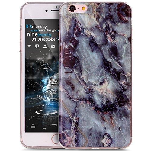 iPhone 6S Plus Hülle,iPhone 6 Plus Hülle,ikasus® TPU Silikon Hülle Schutz Handy Hülle Case Tasche Etui Bumper Crystal Case Hülle für Apple iPhone 6S Plus / 6 Plus (5,5 Zoll) Glänzende Marmor Textur Mu SchwarzGrau Marble