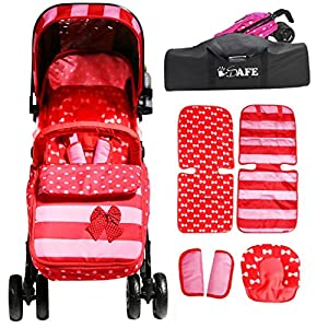 2017 iSafe Optimum Stroller Bow Dots + Stroller Travel Bag   7
