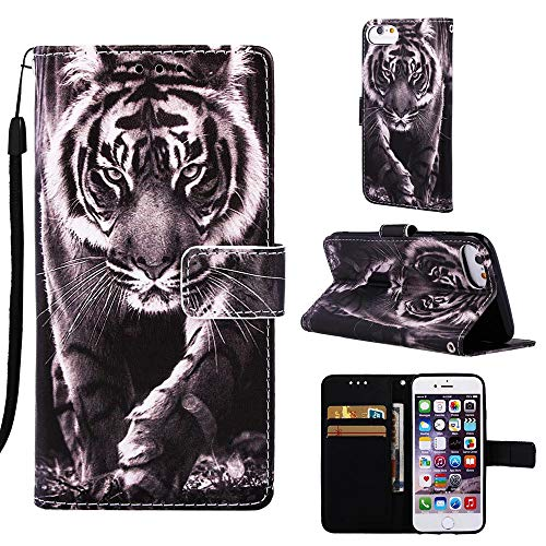 Wubaouk iPhone 6/iPhone 6s Hülle Wallet Flip PU Leather Cover B&W Tiger Pattern Magnet Design Flip Hülle Silicone Bumper Protective Cover with Stand Function Card Slot Holder Tiger Stand Bag