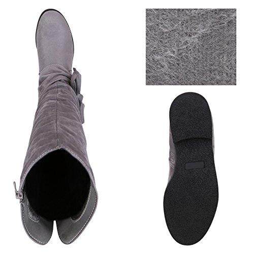 Stiefelparadies Warm Gefütterte Stiefel Damen Winterstiefel Damen Boots Schnallen Profilsohle Schuhe Kunstfell Winterschuhe Flandell Grau Schleifen