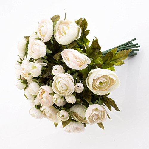 artplants Künstlicher Ranunkelstrauch mit 18 Blüten, weiß-rosa, 30cm, Ø 25cm - Deko Strauß Busch Strauch