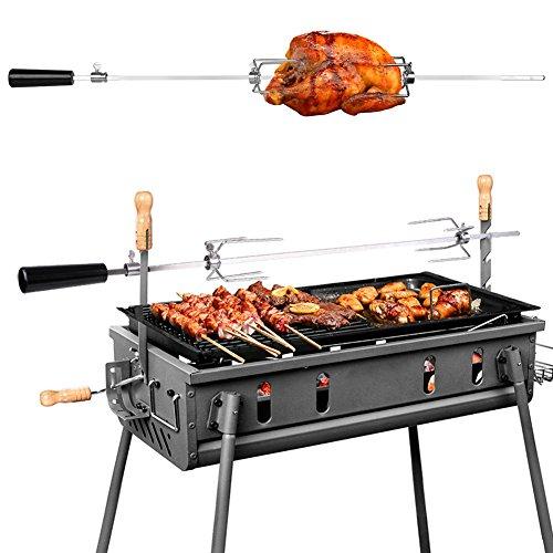 MVPOWER 93cm BBQ Tournebroche électrique Tournebroche automatique en Acier Inox Tournebroche a Moteur 4W 220-240V 50Hz pour Grill Barbecue à Gaz