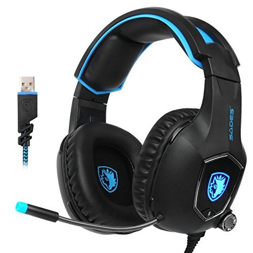 SADES R13 USB Gaming Headset 2017 Neue Update Gaming Headset USB Verdrahtete PC Gaming Headset Über Ohr Kopfhörer Gaming mit Mikrofon Revolution Lautstärkeregelung Noise Cancelling LED-Licht (schwarz)