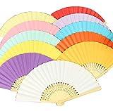 HorBous 9pcs Ventaglio Pieghevole Moda Semplice Solido di Colore Bianco Fan di Carta bambù tenuto in Mano Pieghevole Fan per la Decorazione Fai da Te (9 Colori a Caso)