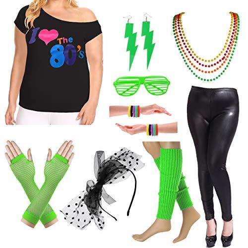 8IGHTEEN COSTUME Plus Size 80er Fancy Outfit Kostüm Set mit Leder Leggings für Damen (3X/4X, Green) (3x-4x Plus Halloween-kostüme Frauen Size Für)